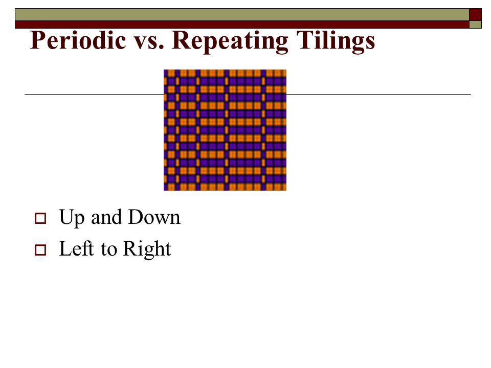 Test for Period Tilings  Construct a lattice  By the way it is made, you can see that a lattice repeats regularly in two directions.