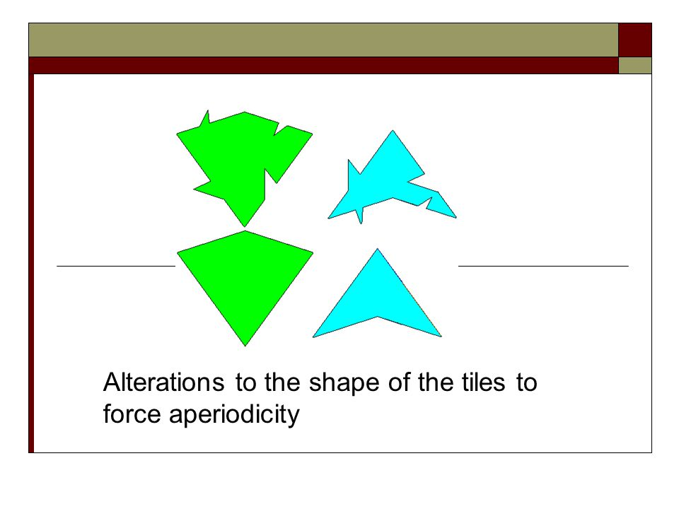 The kites and darts can be changed into other shapes as well, as Penrose showed by making an illustration of non-periodic tiling chickens