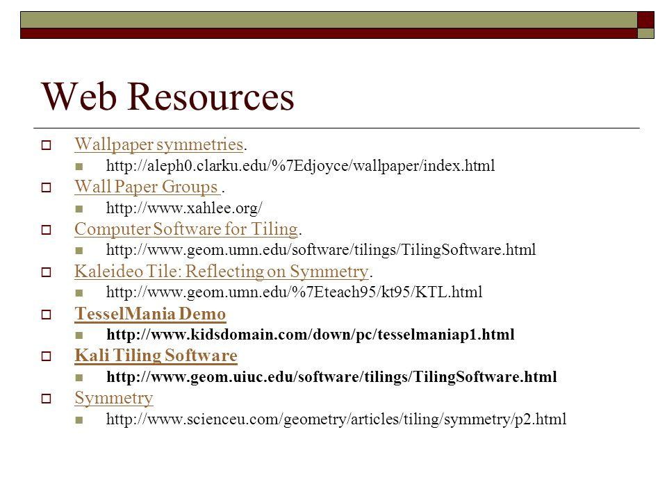 Web Resources  Wallpaper symmetries. Wallpaper symmetries http://aleph0.clarku.edu/%7Edjoyce/wallpaper/index.html  Wall Paper Groups. Wall Paper Gro