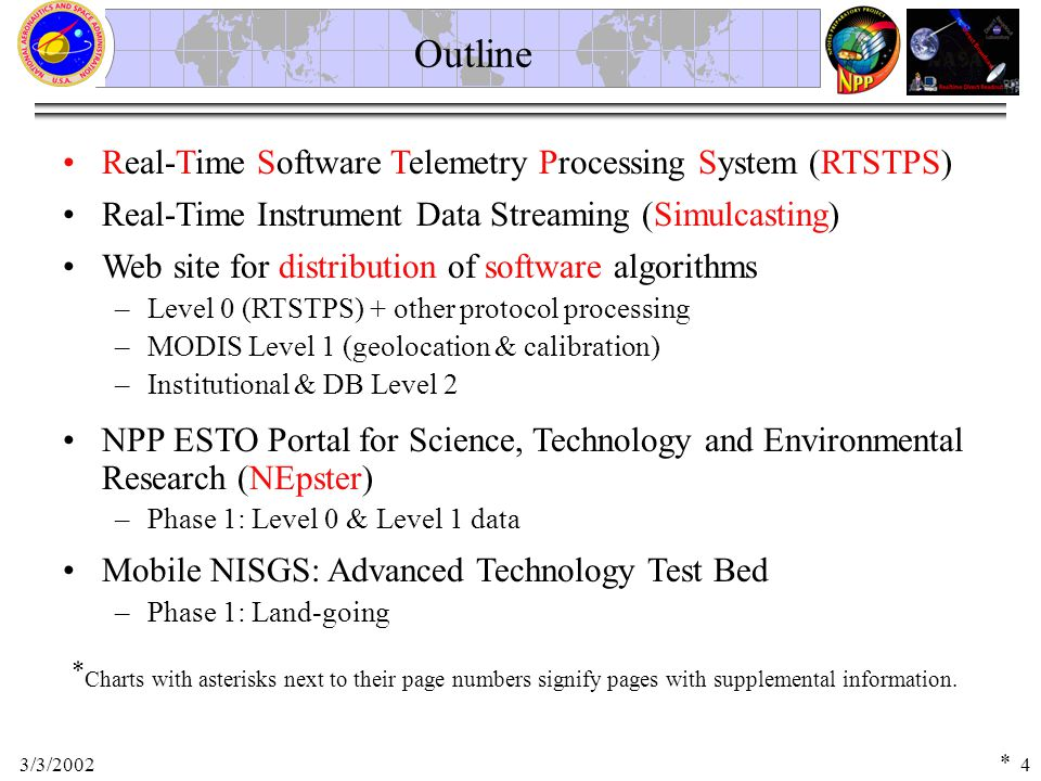 3/3/20024 Real-Time Software Telemetry Processing System (RTSTPS) Outline Real-Time Instrument Data Streaming (Simulcasting) Mobile NISGS: Advanced Technology Test Bed –Phase 1: Land-going Web site for distribution of software algorithms –Level 0 (RTSTPS) + other protocol processing –MODIS Level 1 (geolocation & calibration) –Institutional & DB Level 2 NPP ESTO Portal for Science, Technology and Environmental Research (NEpster) –Phase 1: Level 0 & Level 1 data * Charts with asterisks next to their page numbers signify pages with supplemental information.