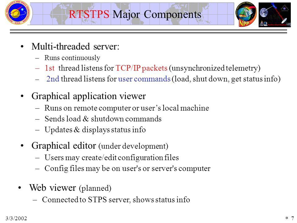 3/3/20027 Multi-threaded server: –Runs continuously –1st thread listens for TCP/IP packets (unsynchronized telemetry) – 2nd thread listens for user commands (load, shut down, get status info) RTSTPS Major Components Graphical application viewer –Runs on remote computer or user's local machine –Sends load & shutdown commands –Updates & displays status info Web viewer (planned) –Connected to STPS server, shows status info Graphical editor (under development) –Users may create/edit configuration files –Config files may be on user s or server s computer *