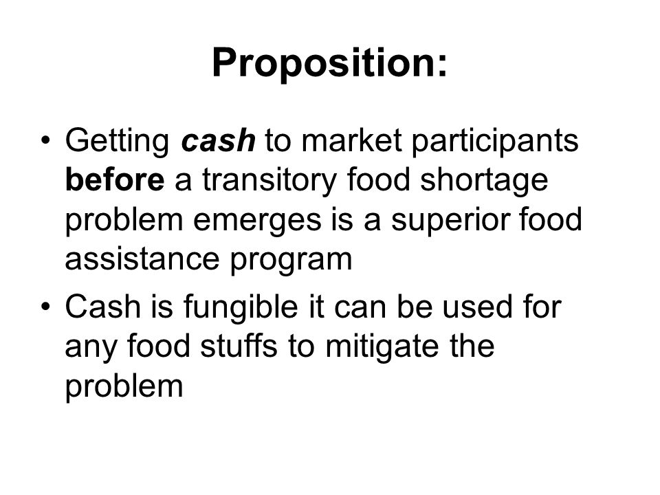 Searching for Solutions that get cash into the country Food Insecurity in the Least Developed Countries and the International Response By Michael Trueblood and Shahla Shapouri This paper compares 3 alternatives 1)Grain options 2)Revolving import compensation fund 3)Import insurance Conclusion: All would cost significantly less $300-$600 million per year vs $2.9 Billion