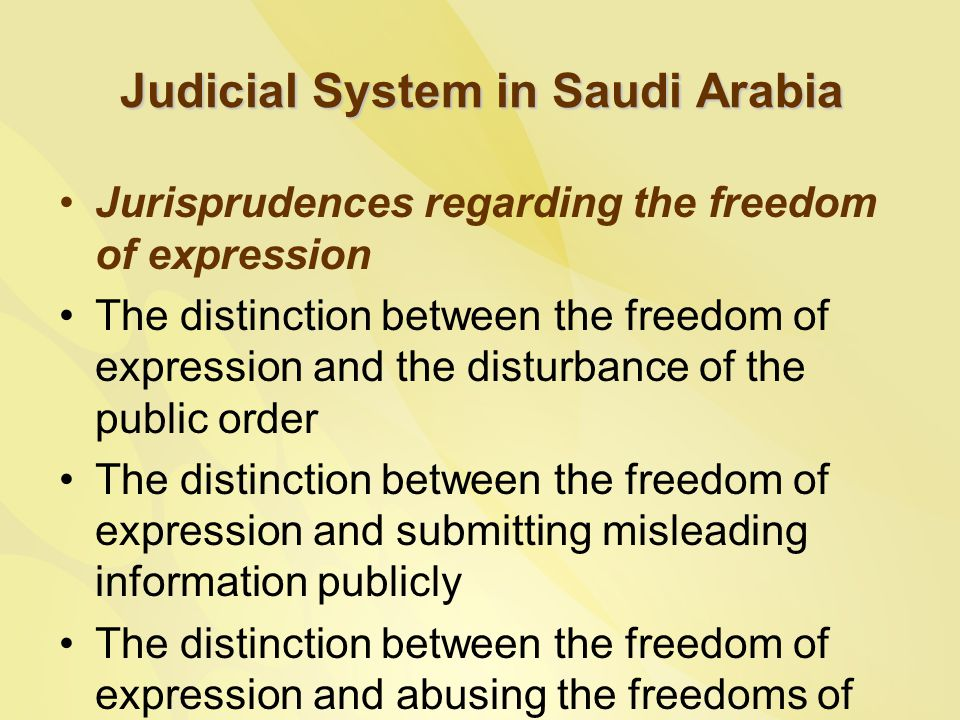 Judicial System in Saudi Arabia Jurisprudences regarding the freedom of expression The distinction between the freedom of expression and the disturbance of the public order The distinction between the freedom of expression and submitting misleading information publicly The distinction between the freedom of expression and abusing the freedoms of others and offending their dignity