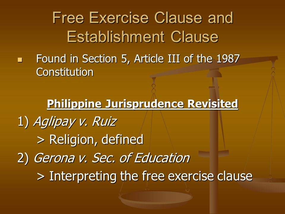 Free Exercise Clause and Establishment Clause Philippine Jurisprudence Revisited 3) American Bible Society v.