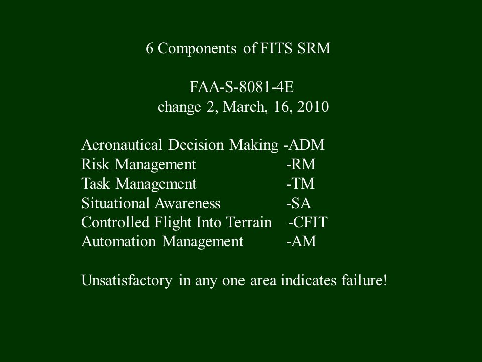 6 Components of FITS SRM FAA-S-8081-4E change 2, March, 16, 2010 Aeronautical Decision Making -ADM Risk Management -RM Task Management -TM Situational