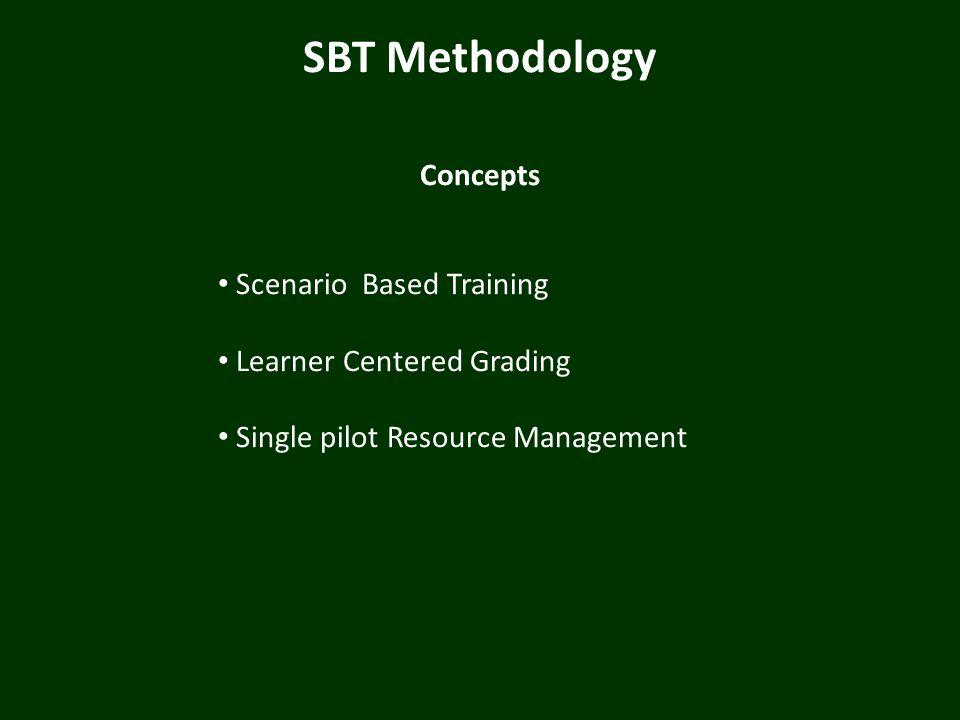 SBT Methodology Concepts Scenario Based Training Learner Centered Grading Single pilot Resource Management