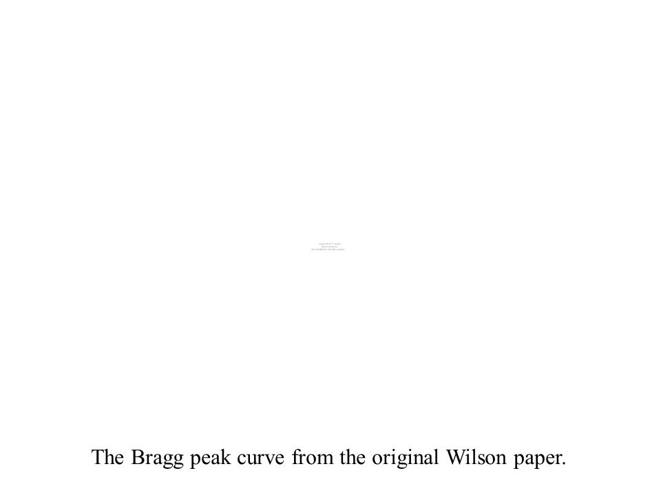The Bragg peak curve from the original Wilson paper.
