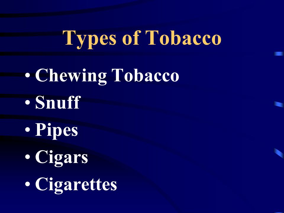 Types of Tobacco Chewing Tobacco Snuff Pipes Cigars Cigarettes