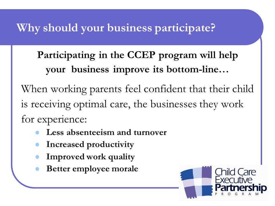 Why should your business participate.There are tax benefits.