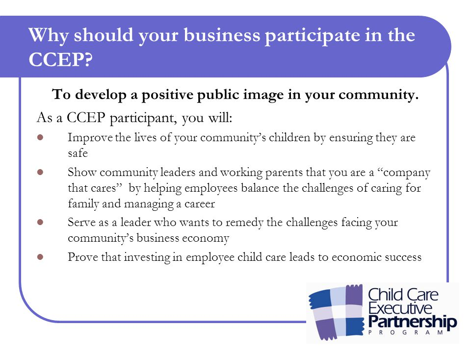 Why should your business participate in the CCEP.