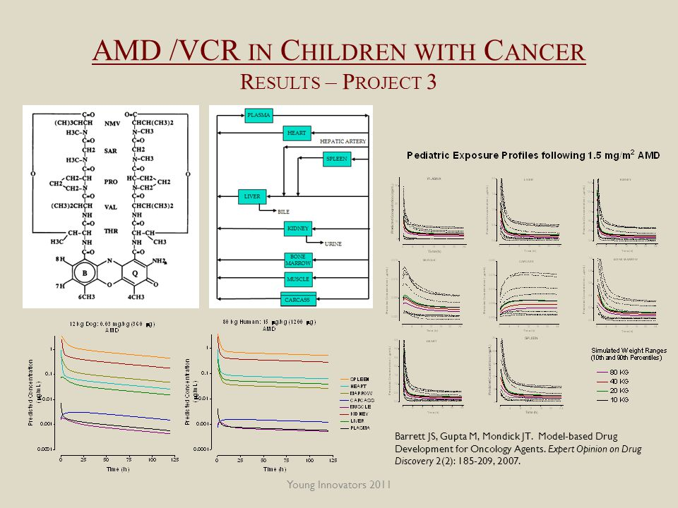 Young Innovators 2011 AMD /VCR IN C HILDREN WITH C ANCER R ESULTS – P ROJECT 3 Barrett JS, Gupta M, Mondick JT.