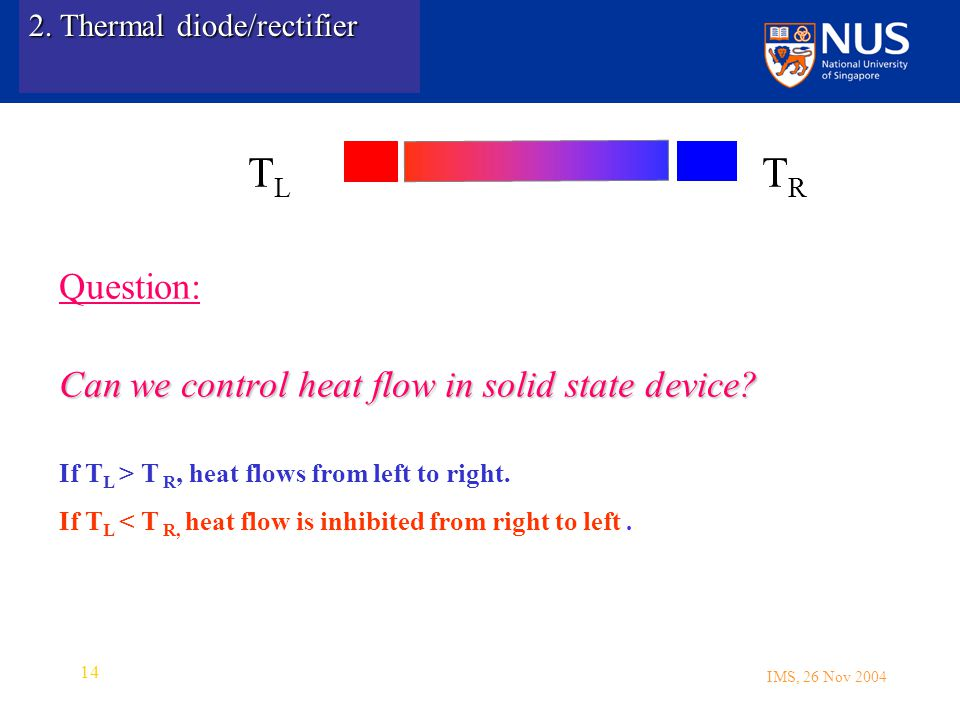 IMS, 26 Nov 2004 14 Question: Can we control heat flow in solid state device.