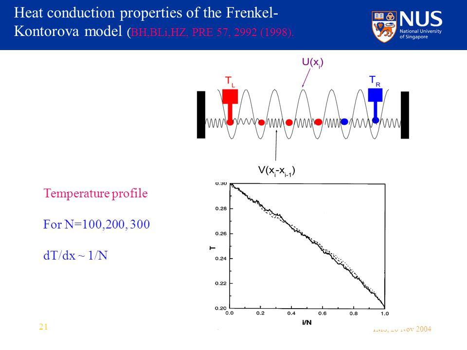 IMS, 26 Nov 2004 21 Heat conduction properties of the Frenkel- Kontorova model (BH,BLi,HZ, PRE 57, 2992 (1998).