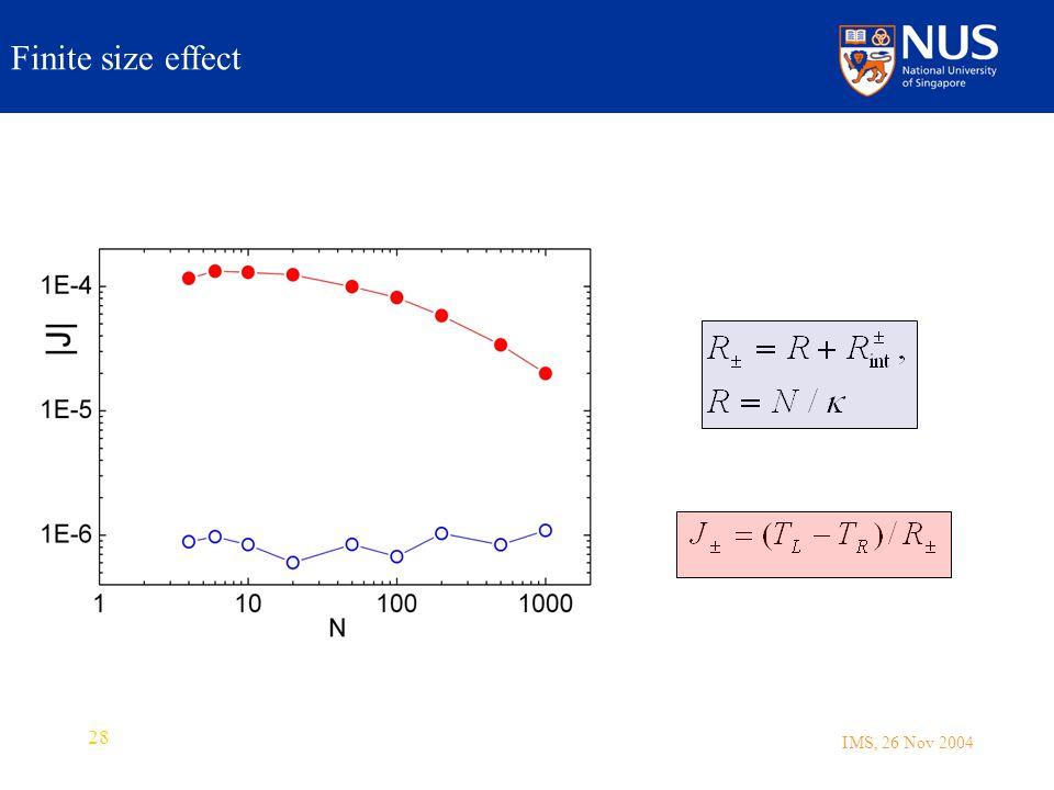 IMS, 26 Nov 2004 28 Finite size effect