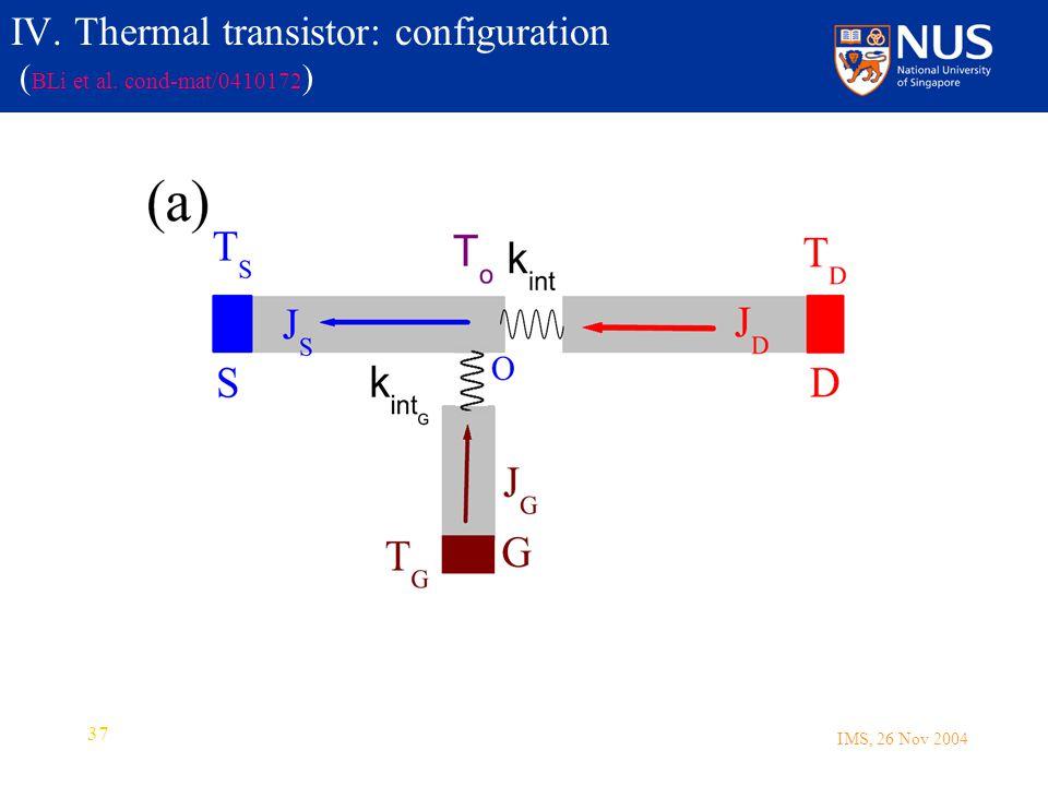 IMS, 26 Nov 2004 37 IV. Thermal transistor: configuration ( BLi et al. cond-mat/0410172 )