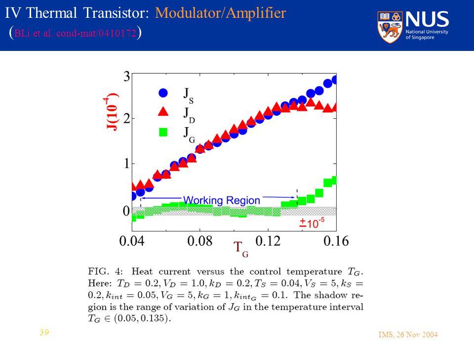 IMS, 26 Nov 2004 39 IV Thermal Transistor: Modulator/Amplifier ( BLi et al. cond-mat/0410172 )