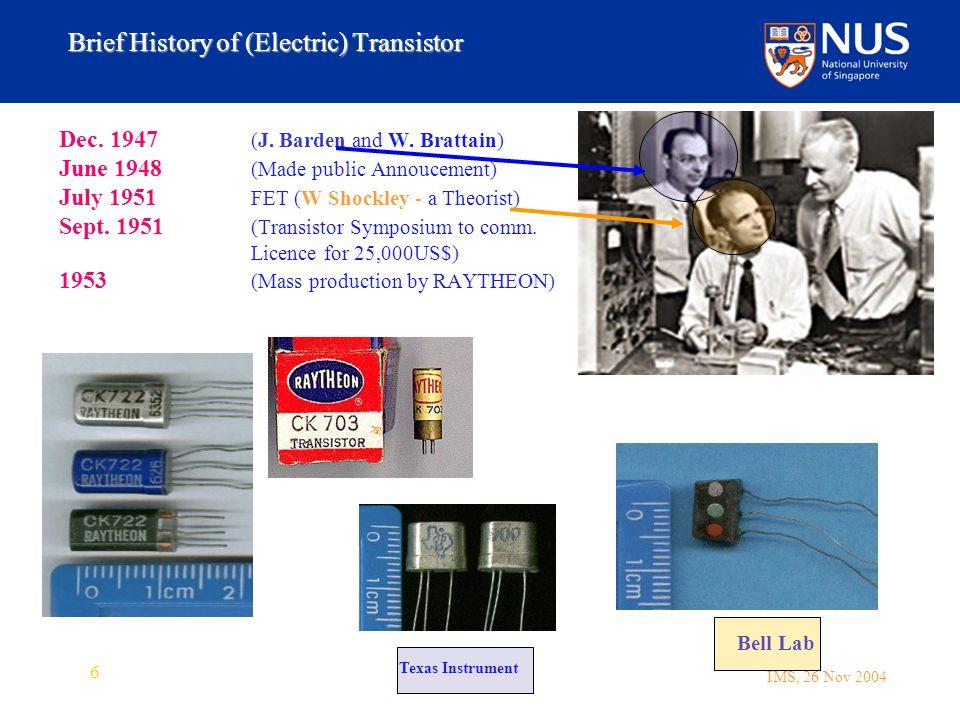 IMS, 26 Nov 2004 6 Brief History of (Electric) Transistor Dec.
