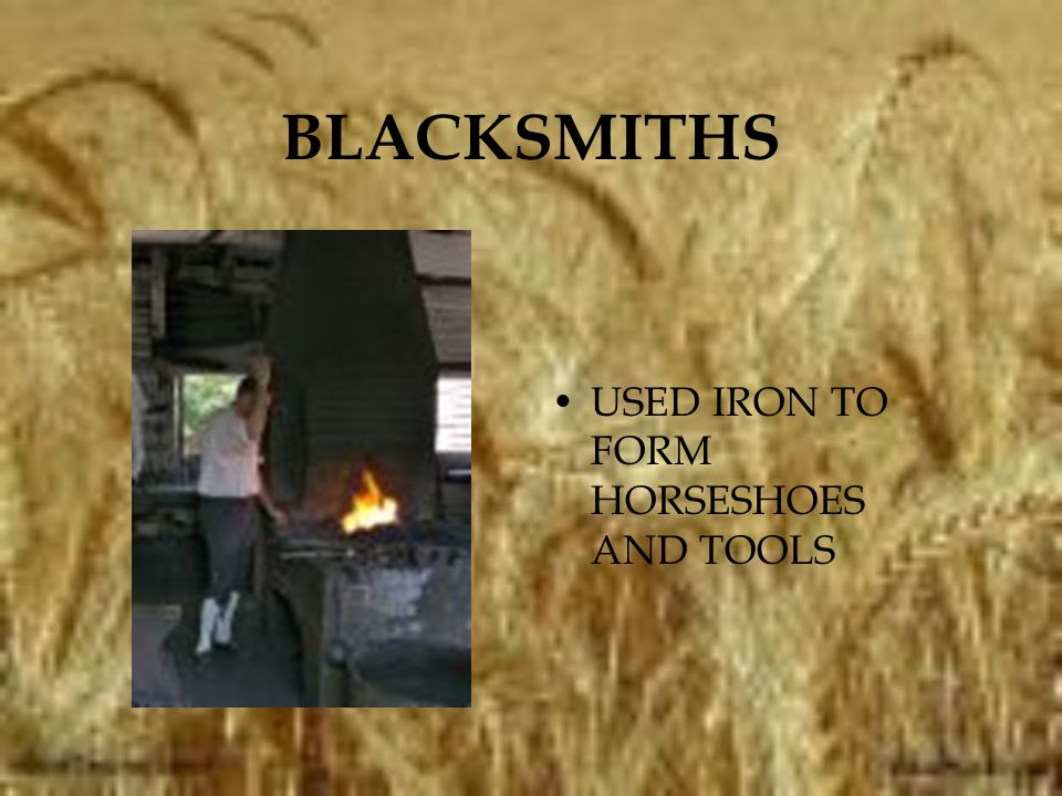 BLACKSMITHS USED IRON TO FORM HORSESHOES AND TOOLS