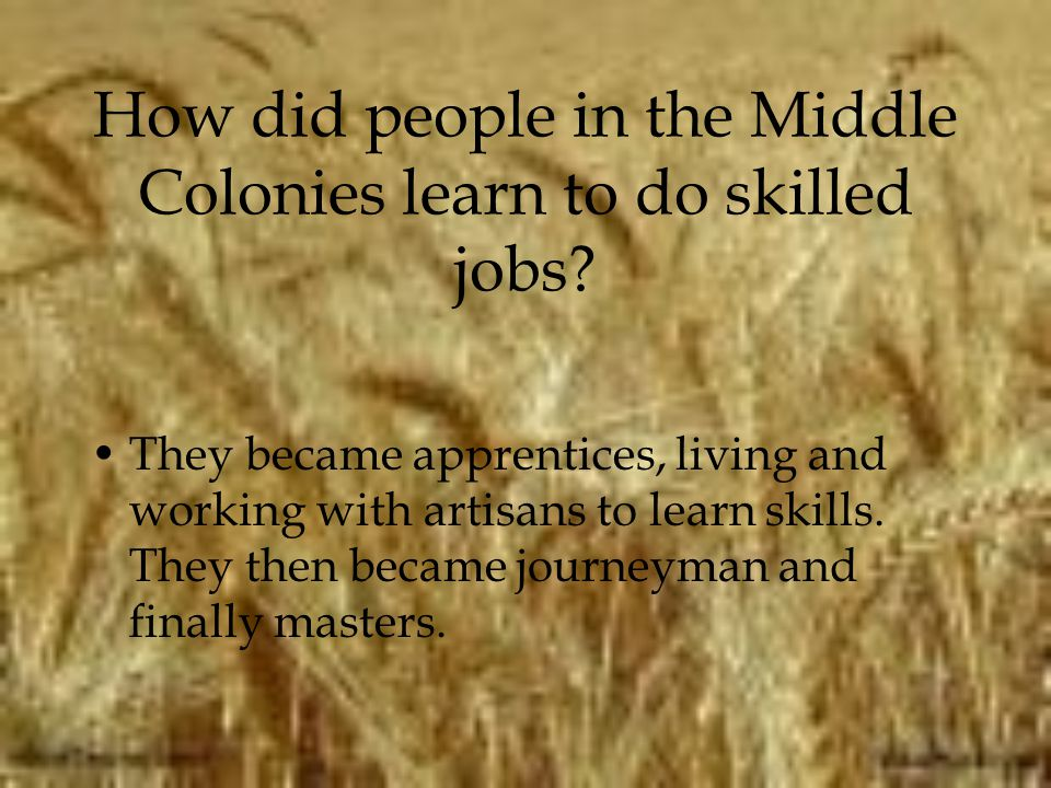 How did people in the Middle Colonies learn to do skilled jobs? They became apprentices, living and working with artisans to learn skills. They then b