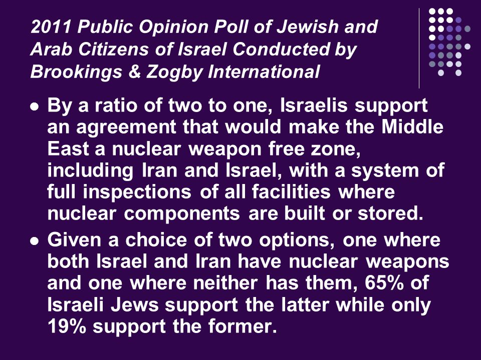 2011 Public Opinion Poll of Jewish and Arab Citizens of Israel Conducted by Brookings & Zogby International By a ratio of two to one, Israelis support an agreement that would make the Middle East a nuclear weapon free zone, including Iran and Israel, with a system of full inspections of all facilities where nuclear components are built or stored.