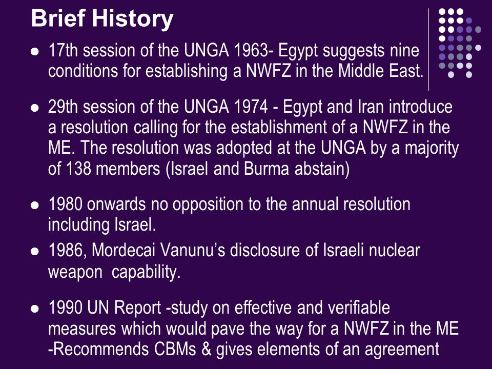 Brief History 17th session of the UNGA 1963- Egypt suggests nine conditions for establishing a NWFZ in the Middle East.