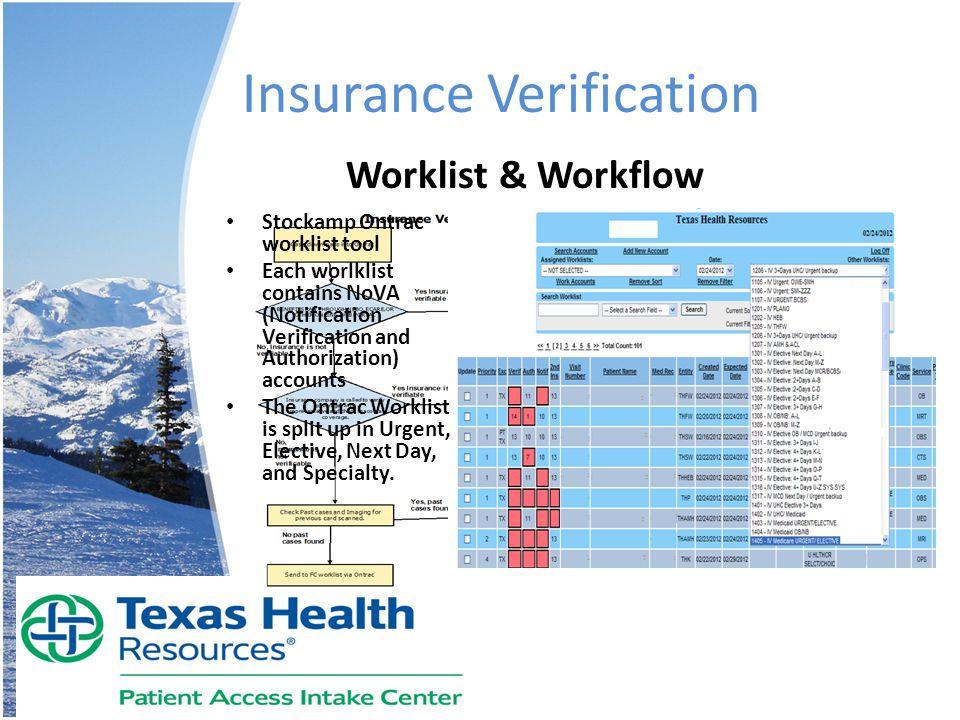 Insurance Verification Worklist & Workflow Stockamp Ontrac worklist tool Each worlklist contains NoVA (Notification Verification and Authorization) ac