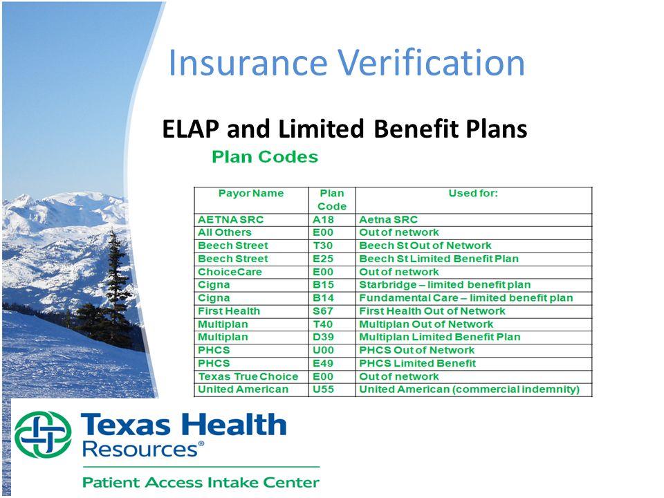 Insurance Verification ELAP and Limited Benefit Plans