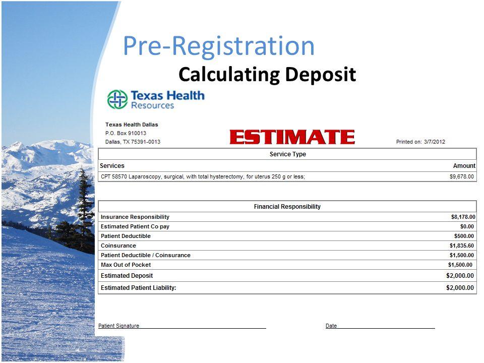 Pre-Registration Calculating Deposit
