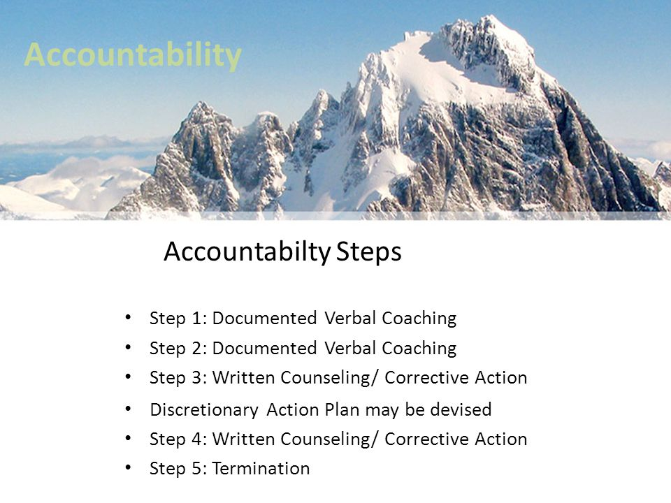 Accountability Accountabilty Steps Step 1: Documented Verbal Coaching Step 2: Documented Verbal Coaching Step 3: Written Counseling/ Corrective Action