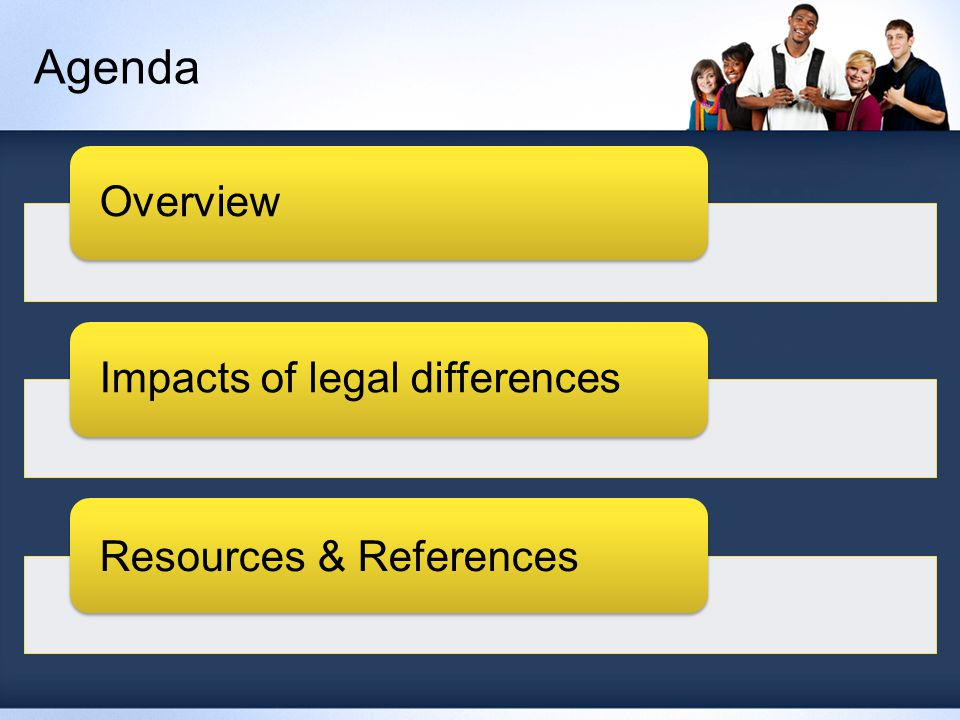 Agenda OverviewImpacts of legal differences Resources & References