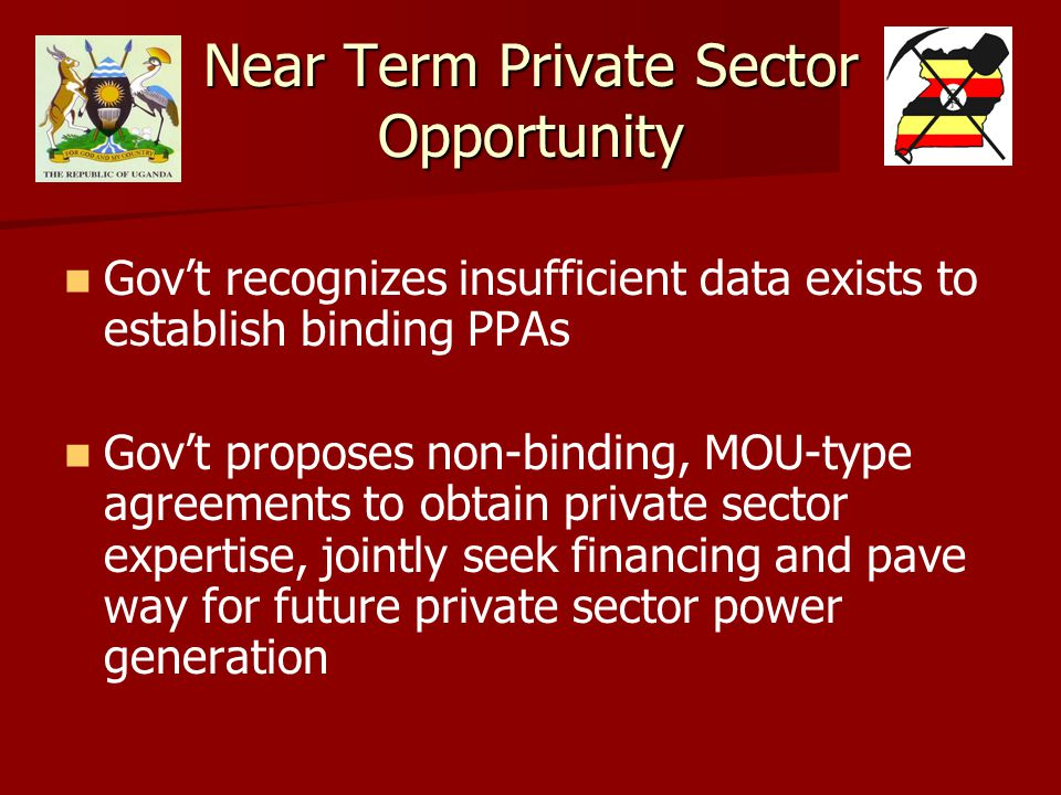 Near Term Private Sector Opportunity Gov't recognizes insufficient data exists to establish binding PPAs Gov't proposes non-binding, MOU-type agreements to obtain private sector expertise, jointly seek financing and pave way for future private sector power generation