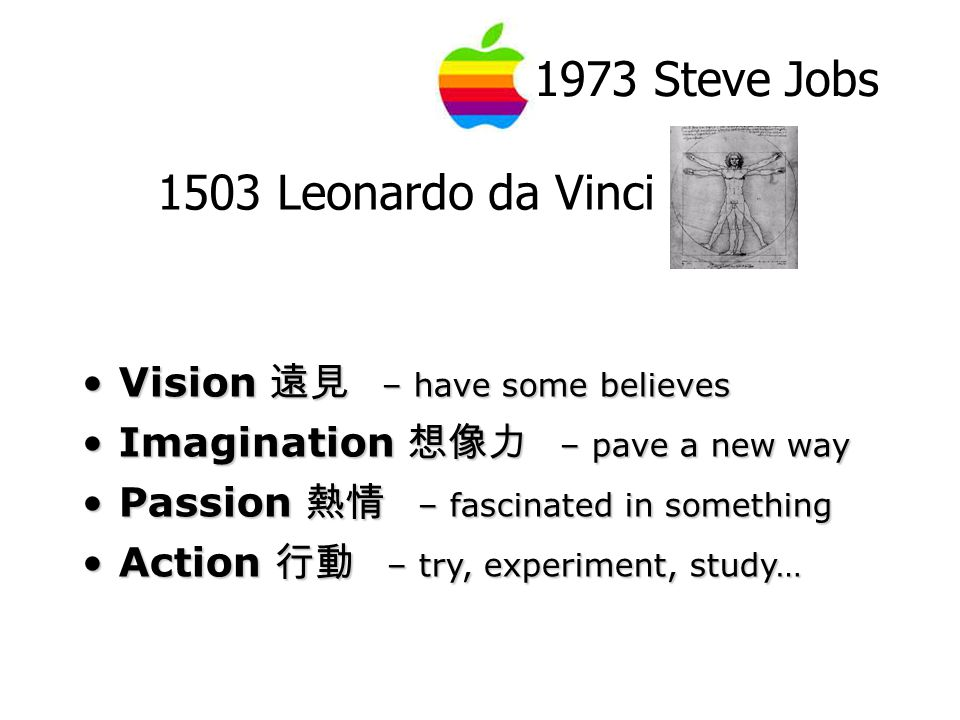 1973 Steve Jobs 1503 Leonardo da Vinci Vision 遠見 – have some believesVision 遠見 – have some believes Imagination 想像力 – pave a new wayImagination 想像力 – pave a new way Passion 熱情 – fascinated in somethingPassion 熱情 – fascinated in something Action 行動 – try, experiment, study…Action 行動 – try, experiment, study…