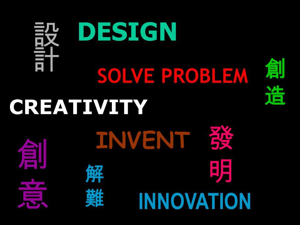 INVENT DESIGN INNOVATION CREATIVITY SOLVE PROBLEM 發明發明 創造創造 解難解難 設計設計 創意創意