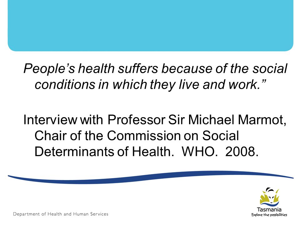 People's health suffers because of the social conditions in which they live and work. Interview with Professor Sir Michael Marmot, Chair of the Commission on Social Determinants of Health.
