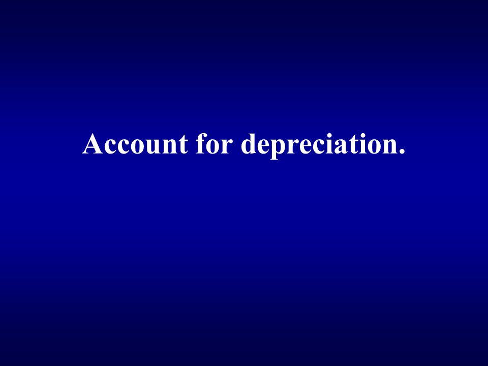 Account for depreciation.