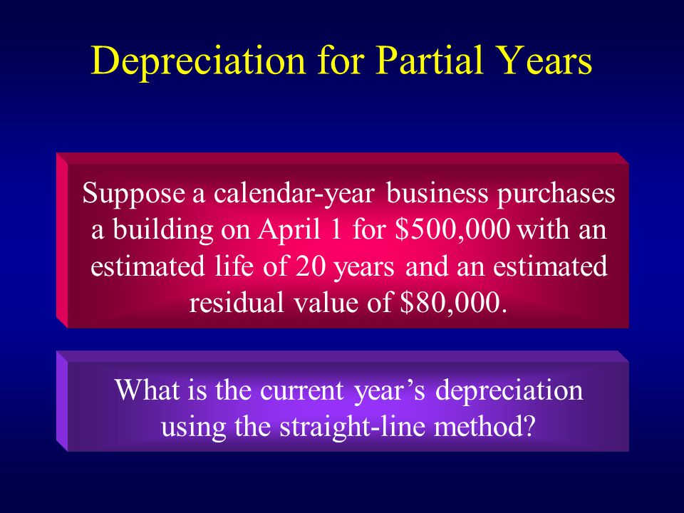 Depreciation for Partial Years Suppose a calendar-year business purchases a building on April 1 for $500,000 with an estimated life of 20 years and an estimated residual value of $80,000.