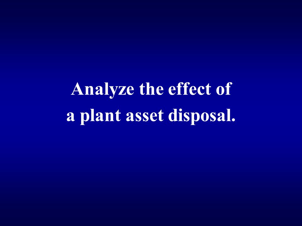 Analyze the effect of a plant asset disposal.