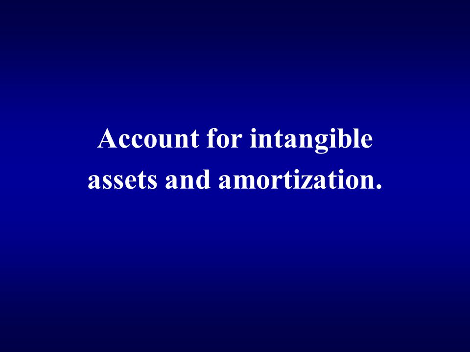 Account for intangible assets and amortization.