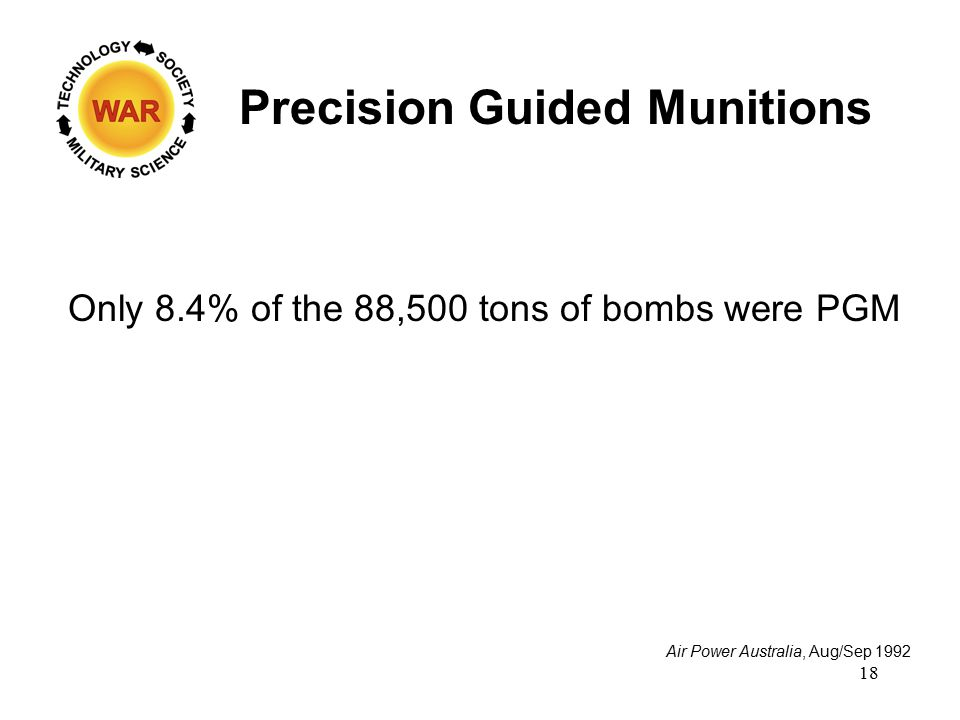 Precision Guided Munitions Air Power Australia, Aug/Sep 1992 Only 8.4% of the 88,500 tons of bombs were PGM 18