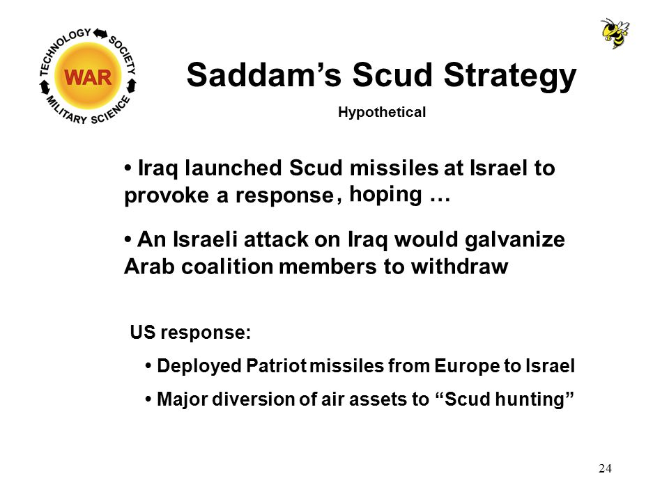 Saddam's Scud Strategy Hypothetical Iraq launched Scud missiles at Israel to provoke a response US response: Deployed Patriot missiles from Europe to