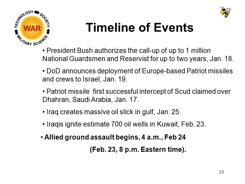 Timeline of Events President Bush authorizes the call-up of up to 1 million National Guardsmen and Reservist for up to two years, Jan. 18. DoD announc