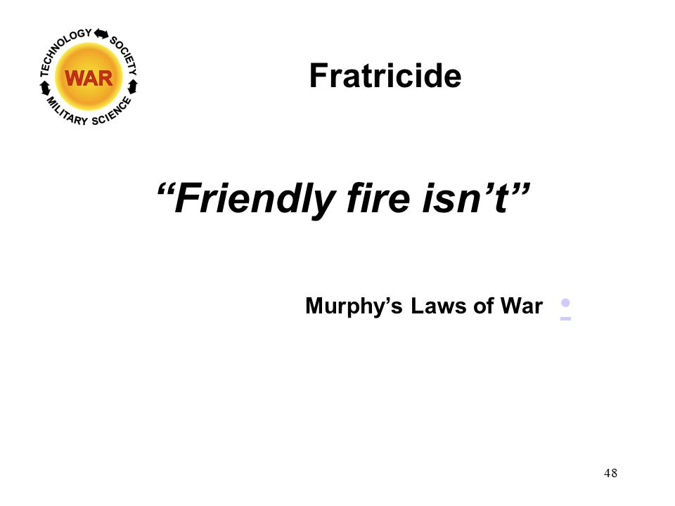 Fratricide Friendly fire isn't Murphy's Laws of War 48