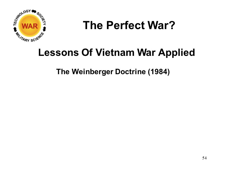 The Perfect War? The Weinberger Doctrine (1984) Lessons Of Vietnam War Applied 54