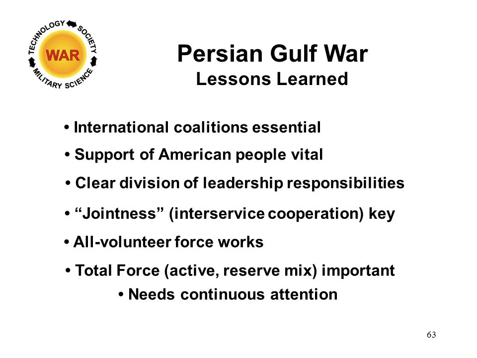 Persian Gulf War Lessons Learned International coalitions essential Support of American people vital Clear division of leadership responsibilities Jointness (interservice cooperation) key All-volunteer force works Total Force (active, reserve mix) important Needs continuous attention 63