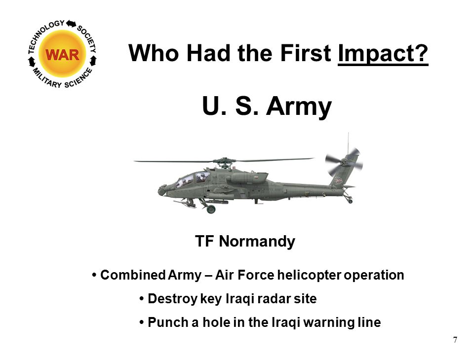 Who Had the First Impact? Combined Army – Air Force helicopter operation Destroy key Iraqi radar site Punch a hole in the Iraqi warning line 7 U. S. A