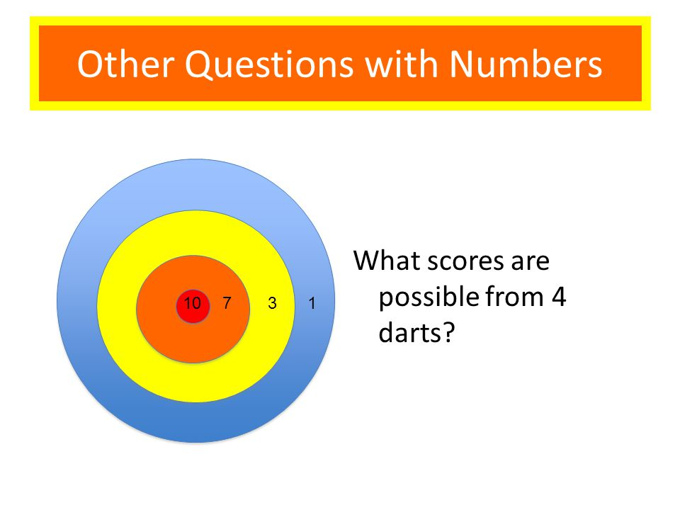 What scores are possible from 4 darts 10731