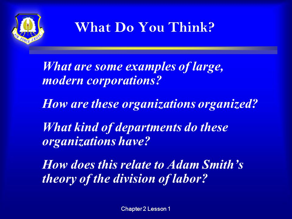 Chapter 2 Lesson 1 What Do You Think? What are some examples of large, modern corporations? How are these organizations organized? What kind of depart