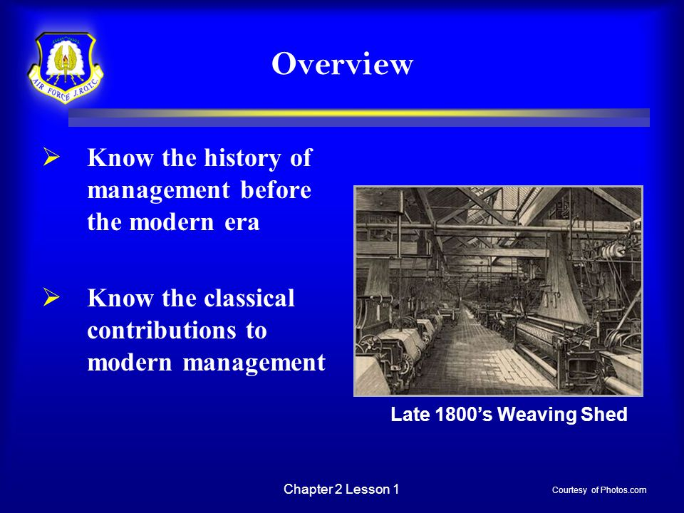 Chapter 2 Lesson 1 Overview  Know the history of management before the modern era  Know the classical contributions to modern management Late 1800's