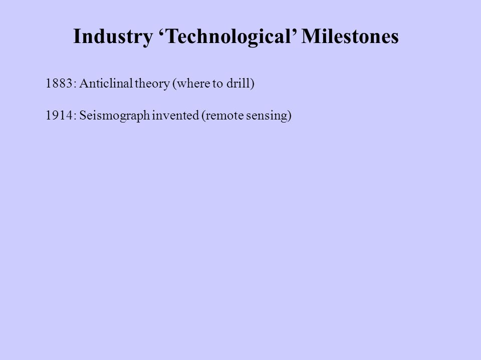 Industry 'Technological' Milestones 1883: Anticlinal theory (where to drill) 1914: Seismograph invented (remote sensing)