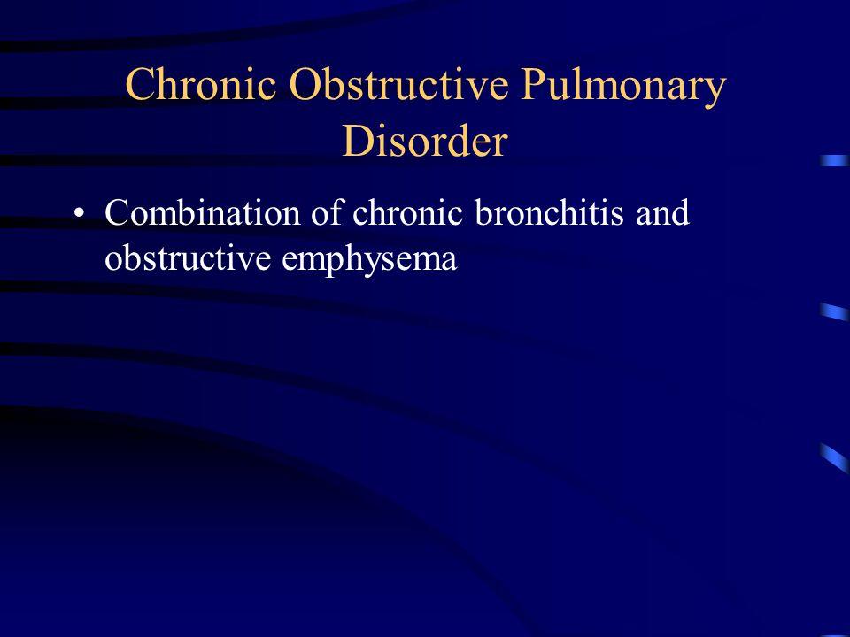 Chronic Obstructive Pulmonary Disorder Combination of chronic bronchitis and obstructive emphysema